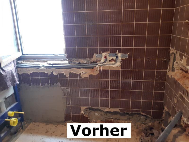 Vorher - altes Bad im Umbau